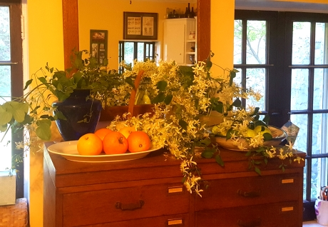 Annie's kitchen, adorned with fresh blooms.