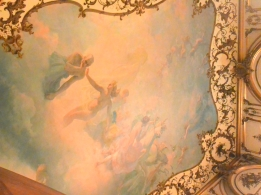 The ceiling of the Vanderbilt Mansion parlor room.